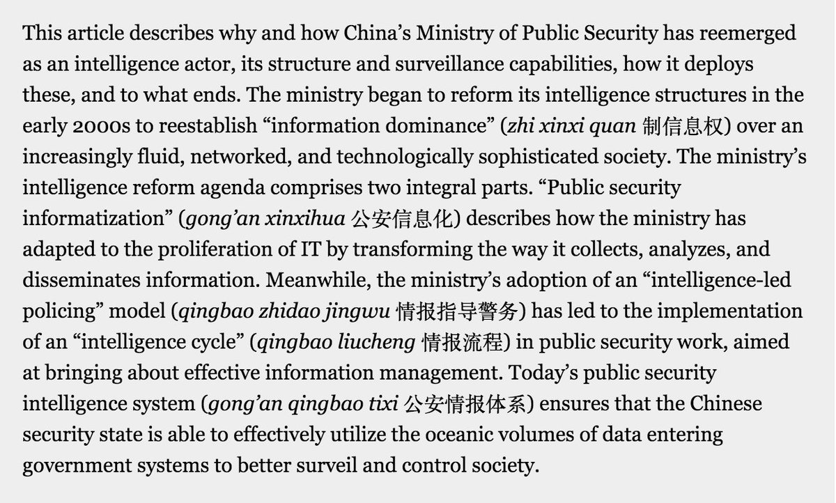 Intelligence and Informatization: The Rise of the Ministry of Public Security in Intelligence Work in China  https://www. journals.uchicago.edu/doi/abs/10.108 6/697089 &nbsp; …  (@eschwarck) #surveillance <br>http://pic.twitter.com/o8o6ZvHuyJ