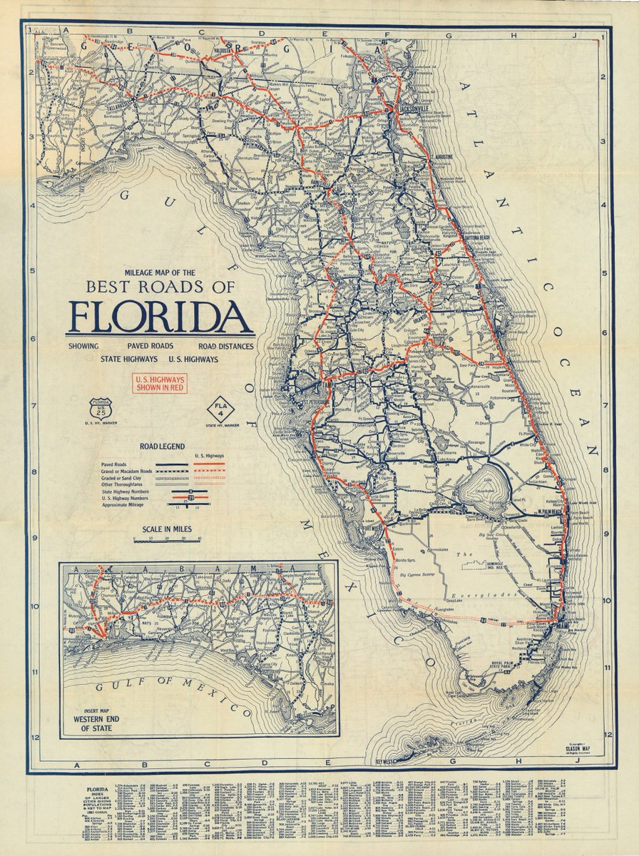 Western Florida Map.Florida Memory On Twitter A Circa 1927 Mileage Map Of The Best