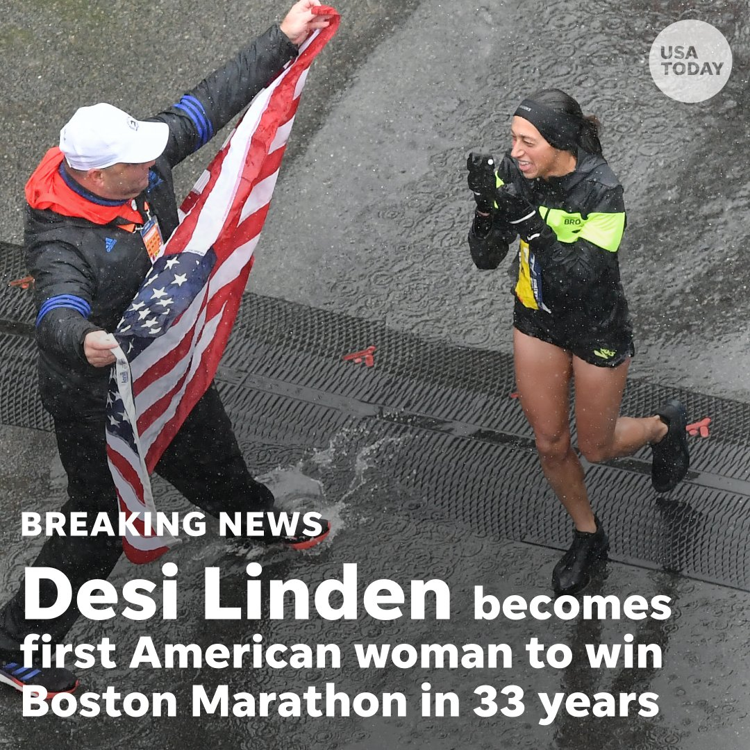 American Desi Linden made a charge around mile 21 of Monday&#39;s #BostonMarathon to become the first American woman to win the race since 1985.  https:// usat.ly/2H4BY5t  &nbsp;  <br>http://pic.twitter.com/cNMuSwlR1a