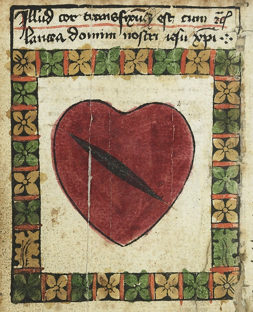#medievalbodies   A &#39;speerbilder&#39;, an early printed image of the #heart of Christ that was sold to pilgrims after being ritually stabbed through with the lance-relic held in #Nuremberg Cathedral.  @bsb_muenchen: MS Cgm 692 #medievaltwitter #histmed #sciart #print #printing<br>http://pic.twitter.com/eU8bVkRbVR