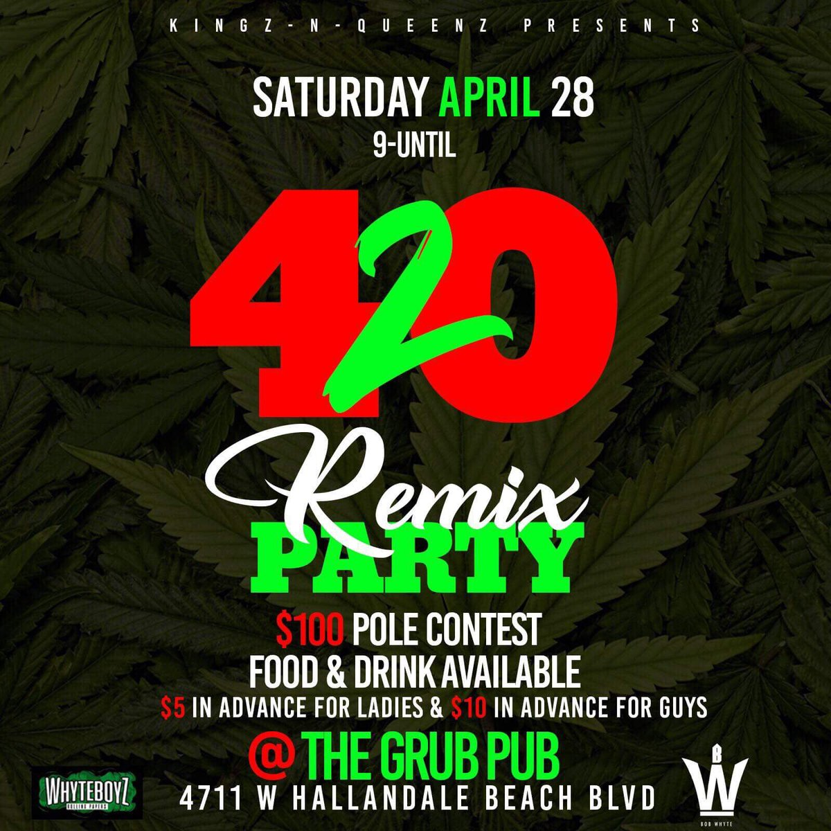It's Going Down Saturday April 28th The Kingz n Queenz Group Presents The 1st Annual #420RemixBash Get Ya Tickets In Advance nd Come Turn Up With The Livest Of Live #420 #SmokeOne #ComePartyWithUs #ItsGoneBeLit 🔥🔥🔥🔥