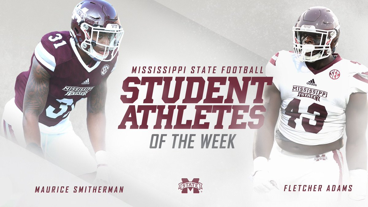 Congrats to @Smitherman_Era & @FletcherAdams43 on being named Student-Athletes of the Week! #HailState🐶 #ItJustMeansMore📚