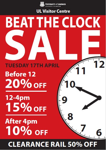 Beat the clock sale happening in the Visitor Centre @UL tomorrow #sale #StudyAtUL <br>http://pic.twitter.com/Ypq1uhBlbz