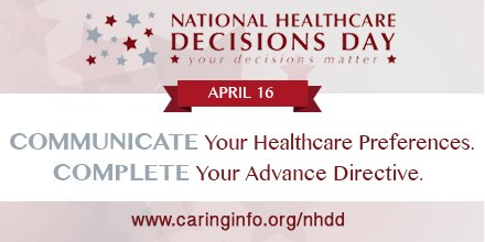 It is National Healthcare Decisions Day! Start your conversation about end-of-life care and start the discussion on your wishes for end-of-life care #NHDD   https://www. nhdd.org/public-resourc es#where-can-i-get-an-advance-directive &nbsp; … <br>http://pic.twitter.com/dSTsrj9cQG
