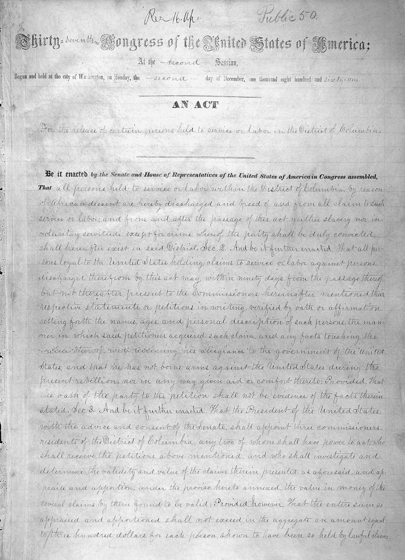 President Abraham Lincoln signed the bill ending slavery in the District of Columbia #OTD 1862. Passage of this law came 8 1/2  months before President Lincoln issued his Emancipation Proclamation. More about the history of DC #EmancipationDay:  https://www. archives.gov/exhibits/featu red-documents/dc-emancipation-act &nbsp; … <br>http://pic.twitter.com/qWqLR1vNA3