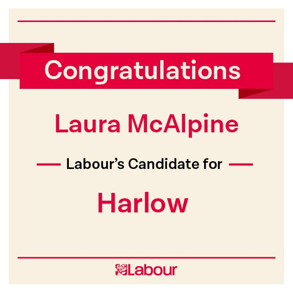 Congratulations Laura McAlpine (@Laura4StapleTye), Labour's candidate for Harlow! https://t.co/QIHY3TjTzP
