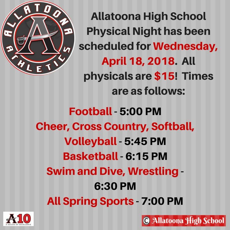 allatoona athletics on twitter all athletes attending physical