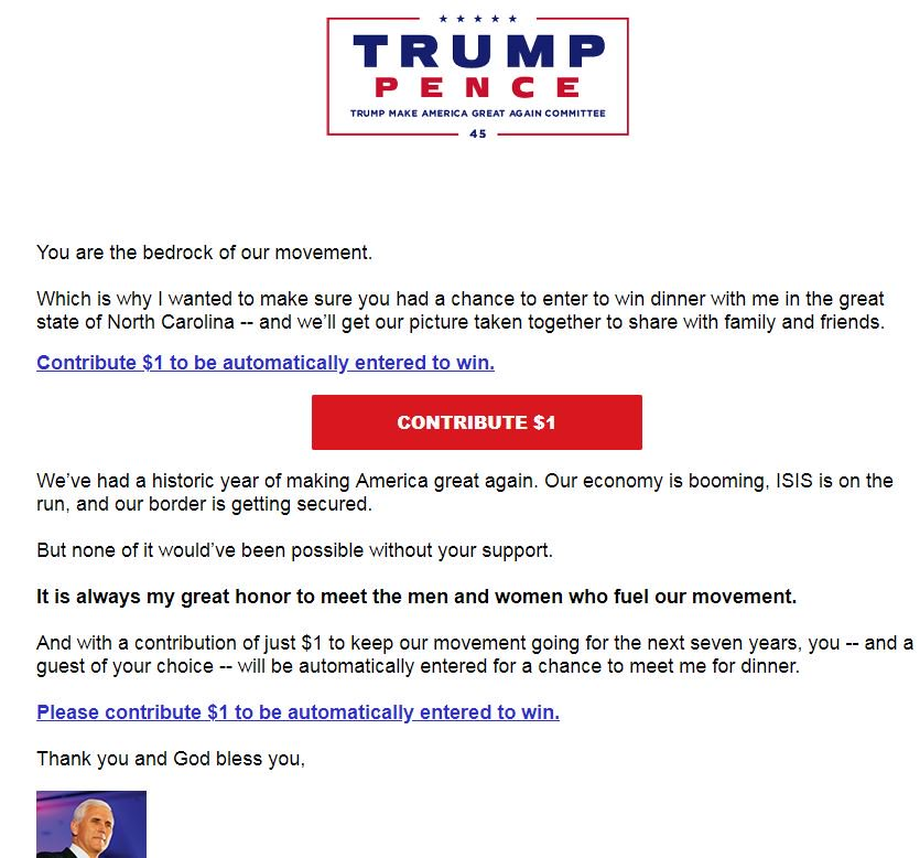 Trump Make America Great Again Committee auctioning off dinner with @VP #Pence - for the cost of a contribution