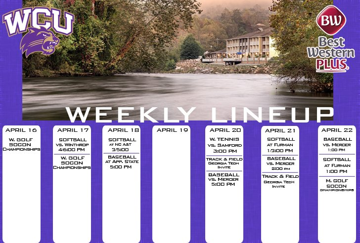 WCU Athletics Weekly Lineup (thru 4-22-18)
