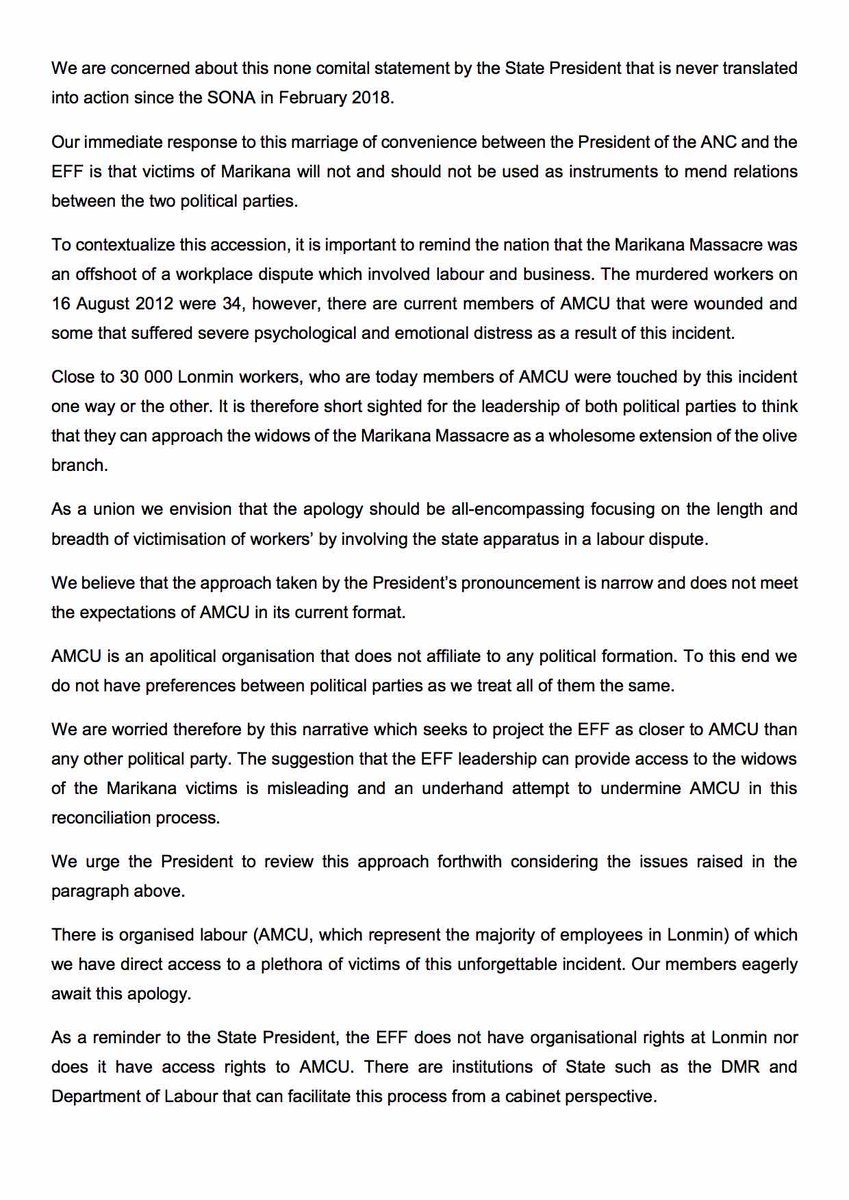 Amcu on Twitter PRESS RELEASE MARIKANA MASSACRE RETRIBUTION AN