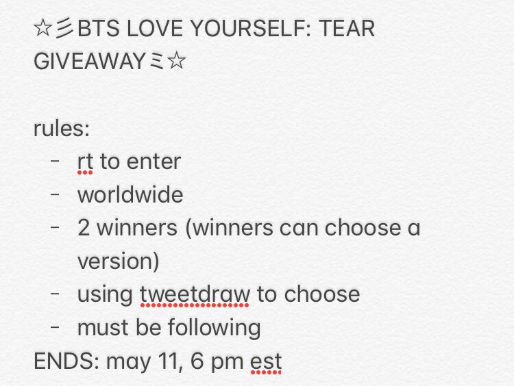 love yourself: tear giveaway ミ☆ rt to enter 2 winners! worldwide!! winners will be announced and dmed may 11 at 6 pm!!! good luck!!!! other info below: #LOVE_YOURSELF_轉_Tear #LoveYourselfTearIsComing