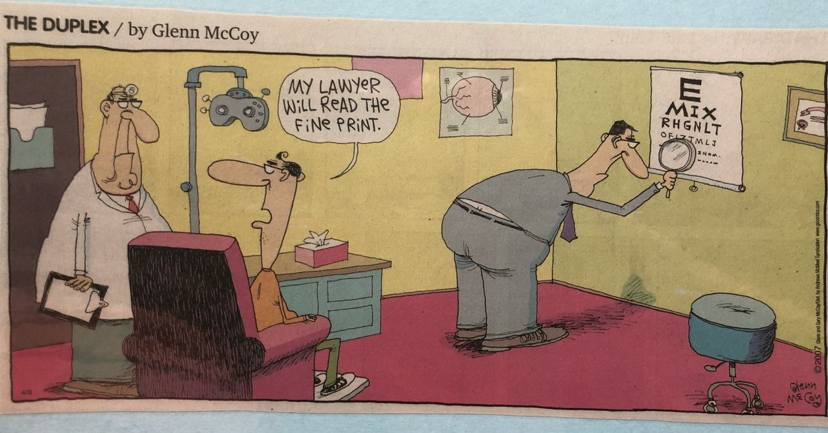Well, that&#39;s one way to get to 20/20 acuity!  I would like to know why the optometrist is depicted with one of those old-school reflector mirrors on his head. #readthefineprint #finedetails #optometry #lawyer #attorney #eyecare #eyejokes #eyenerd #eyeexams #valleyvistaeyecare<br>http://pic.twitter.com/3a9fpHo39G