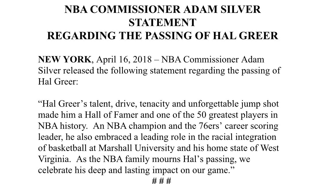 NBA Commissioner Adam Silver released the following statement regarding the passing of Hal Greer https://t.co/cZClTTsJmB
