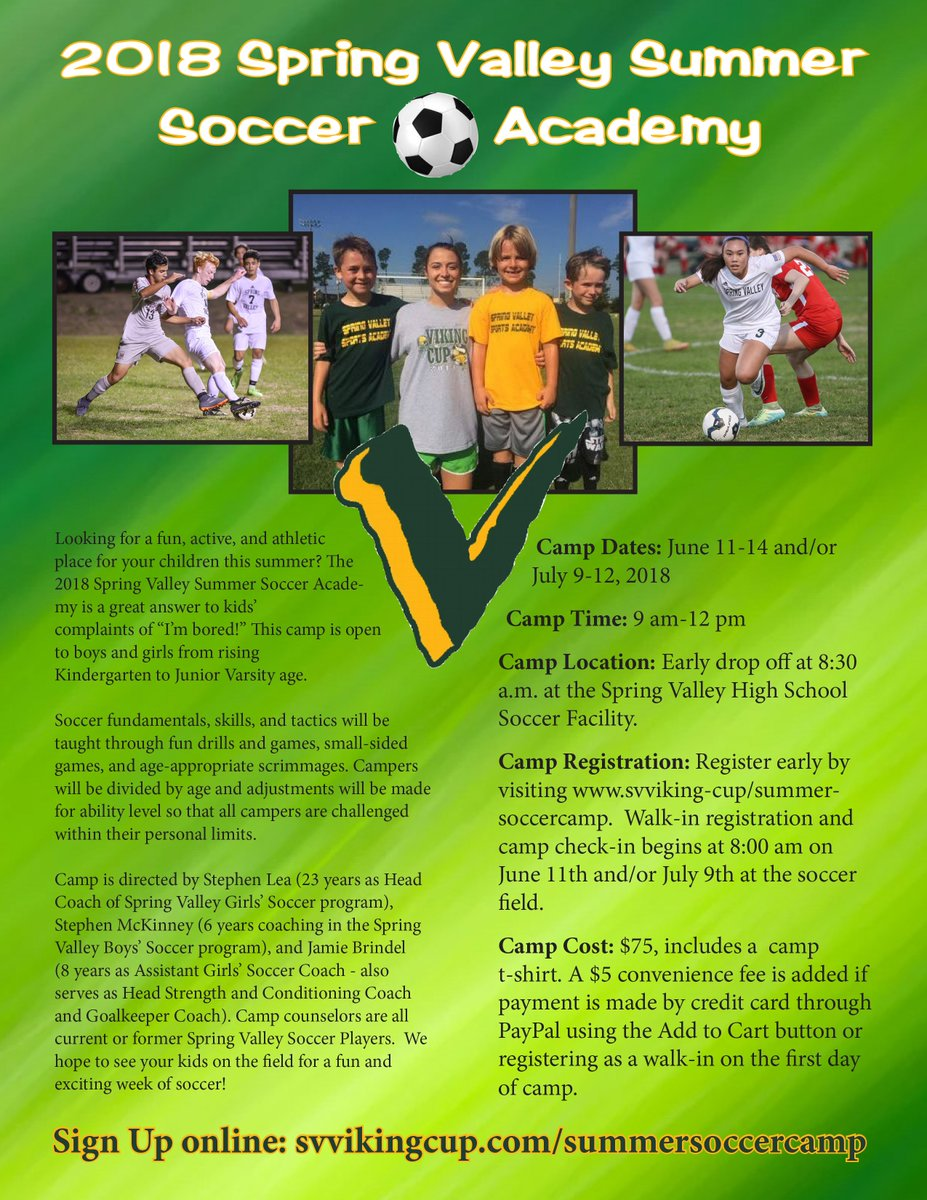 "20a944a3c The 2018 Spring Valley Soccer Camp is a great answer to kids' complaints of  ""I'm bored!"" This camp is open to boys and girls from rising Kindergarten  to ..."