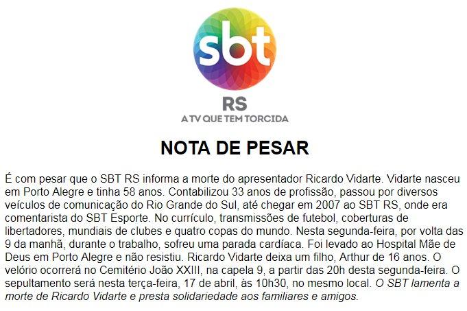SBT RS Oficial's photo on Ricardo Vidarte