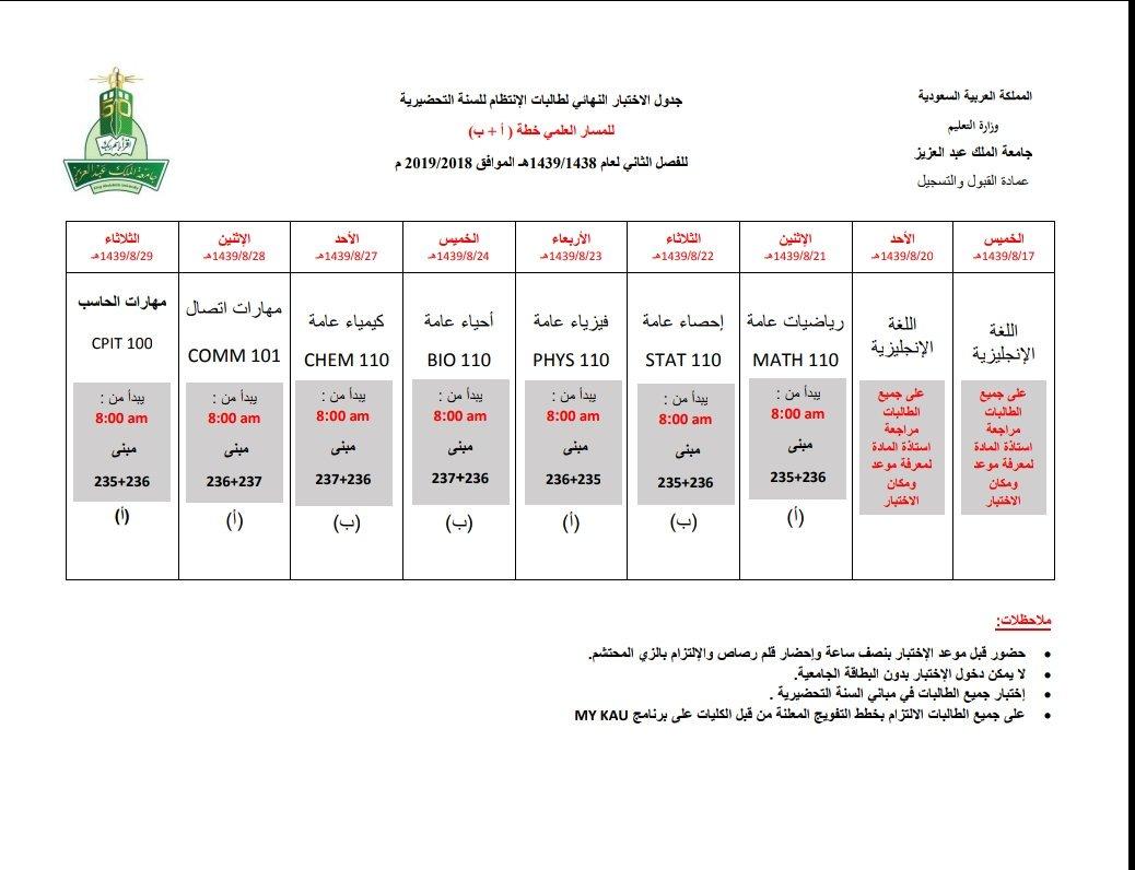 جامعة عبدالعزيز جدول الاختبارات