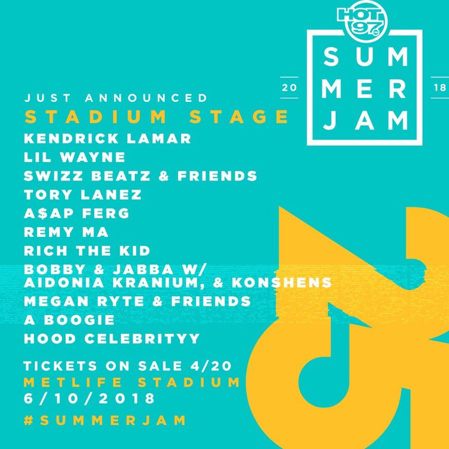 Just Announced: Hot 97's 2018 #SummerJam Lineup! Tickets on sale 4/20. Who are you excited to see? https://t.co/XPsNNd21FV