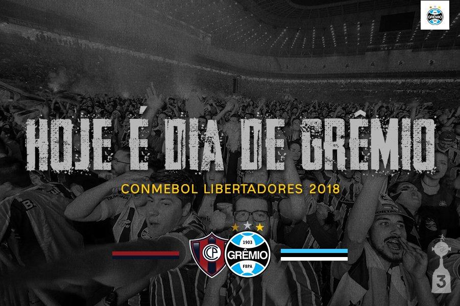 🇪🇪 HOJE É #DiaDeGrêmio 💪 🆚 @CCP1912oficial 🏟️ General Pablo Rojas ⌚️ 21h30 🏆 #Libertadores2018 #⃣ #DonosDaAmérica