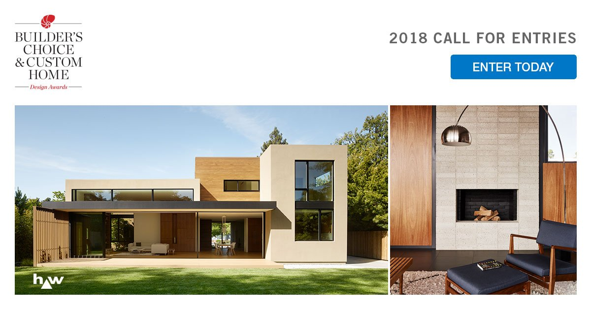 Just a few days left to register projects for the 2018 Builder's Choice & Custom Home Design Awards for the early deadline. All materials must be submitted by April 27. Submit your best work today! https://t.co/Klhq3NX4N7 https://t.co/Fk2A5yl4ld