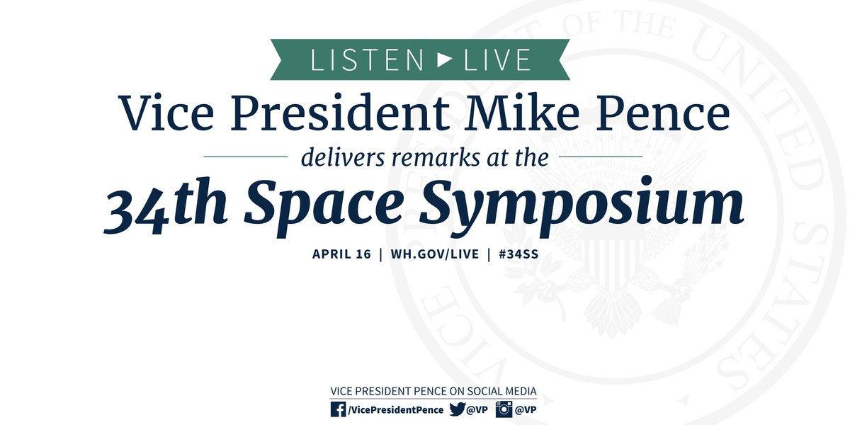 Speaking now in Colorado Springs at the 34th #SpaceSymposium. Listen live now: youtube.com/watch?v=wFgzHg… #34SS