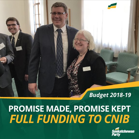 In the 2016 election, we promised to increase funding to @CNIB_Sask. Promise made, promise kept.   See the post-budget reaction from CNIB here >> https://t.co/jjEK8IKi1X