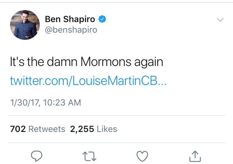 "After a false early report that the Quebec City mosque massacre was co-perpetrated by a man with a Muslim name, Ben Shapiro mockingly tweeted, ""It's the damn Mormons again."" In fact, prosecutors allege, the killer was a white Ben Shapiro fan."