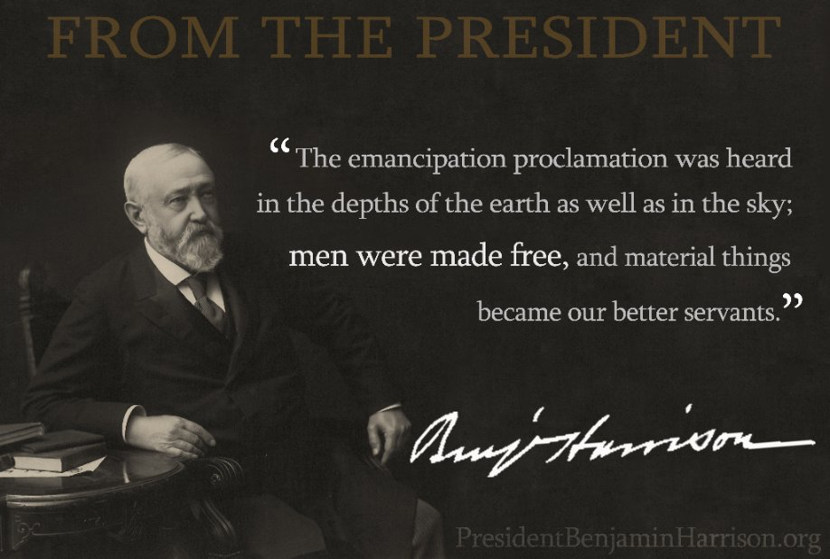 #Emancipation Day has been celebrated in #WashingtonDC since 1865 with a parade that winds past the #WhiteHouse. President Harrison strongly believed in abolishing slavery and would salute the African American troops as they marched by. #potus23<br>http://pic.twitter.com/s6F8NsdtEj
