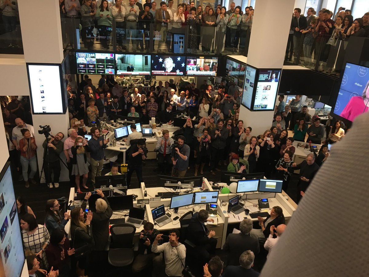 .@washingtonpost staff erupts at announcement of Pulitzer for reporting about Roy Moore.