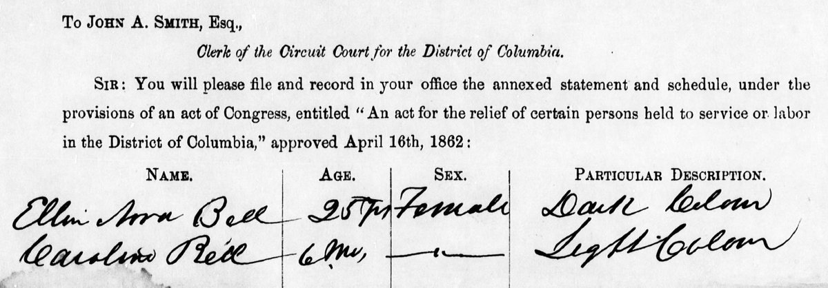 #OnThisDay in 1862, Lincoln signed the Compensated Emancipation Act, freeing abt 3,000 enslaved people in D.C. Among those freed were Eleanora Bell &amp; her 6 mo. old daughter, Caroline. 10 years earlier, Nora lost her petition for freedom:  http:// earlywashingtondc.org/people/per.001 850 &nbsp; …   #EmancipationDay <br>http://pic.twitter.com/Ego9EPDVvo