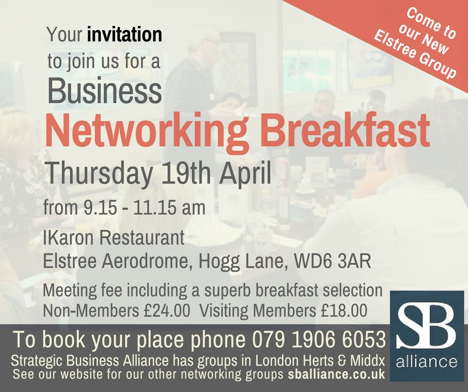 To our friends in #NWLondon &amp; #NorthLondonHour. Do you fancy joining us for a #networking #breakfast this Thursday to make some great #contacts that can lead to new #clients generating new #biz? Then come to our #Elstree #group! To book 079 1906 6053  http://www. sballiance.co.uk  &nbsp;   RT<br>http://pic.twitter.com/K447NzYXn2