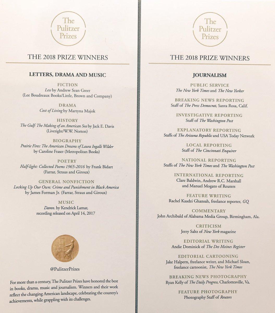 The 2018 #Pulitzer winners  @PulitzerPrizes<br>http://pic.twitter.com/p3nWZ9hny6