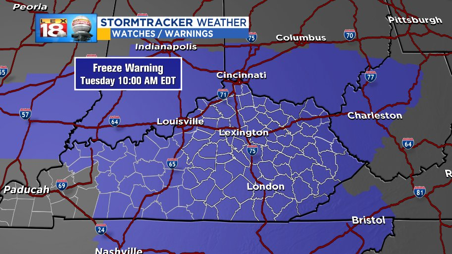The hits just keep on coming...A #FREEZE WARNING will be in effect through much of Tuesday morning as temperatures drop down to freezing or even a few degrees below. Protect the plants! <br>http://pic.twitter.com/G9mOKFHUJc