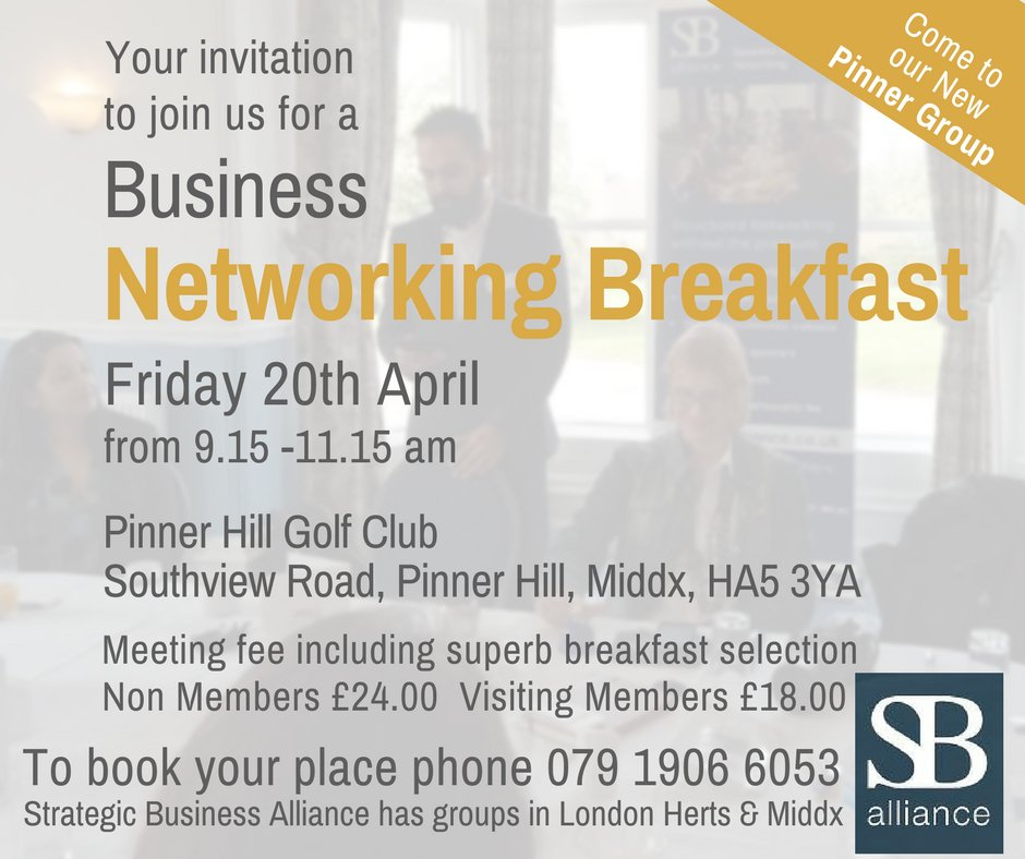 Calling our friends @NorthLondonHour &amp; #NWLondon. Your invite to join us at our NEW #Pinner #networking #breakfast group this Friday @PinnerHillGolf! A great way to gain new #contacts that can lead to new #biz &amp; #opportunities Interested 079 1906 6053.  http://www. sballiance.co.uk  &nbsp;   RT<br>http://pic.twitter.com/aNTjJW3ncX