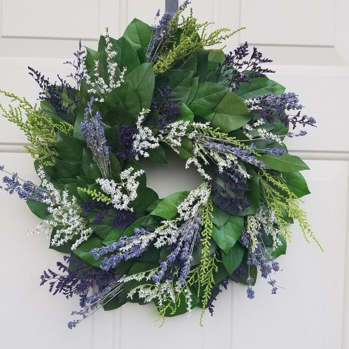 Lavender wreath with preserved Salal leaves www.endlessblossoms com #etsyseller  #preservedwreath #wreaths #mothersday<br>http://pic.twitter.com/VXuBwsPiVA