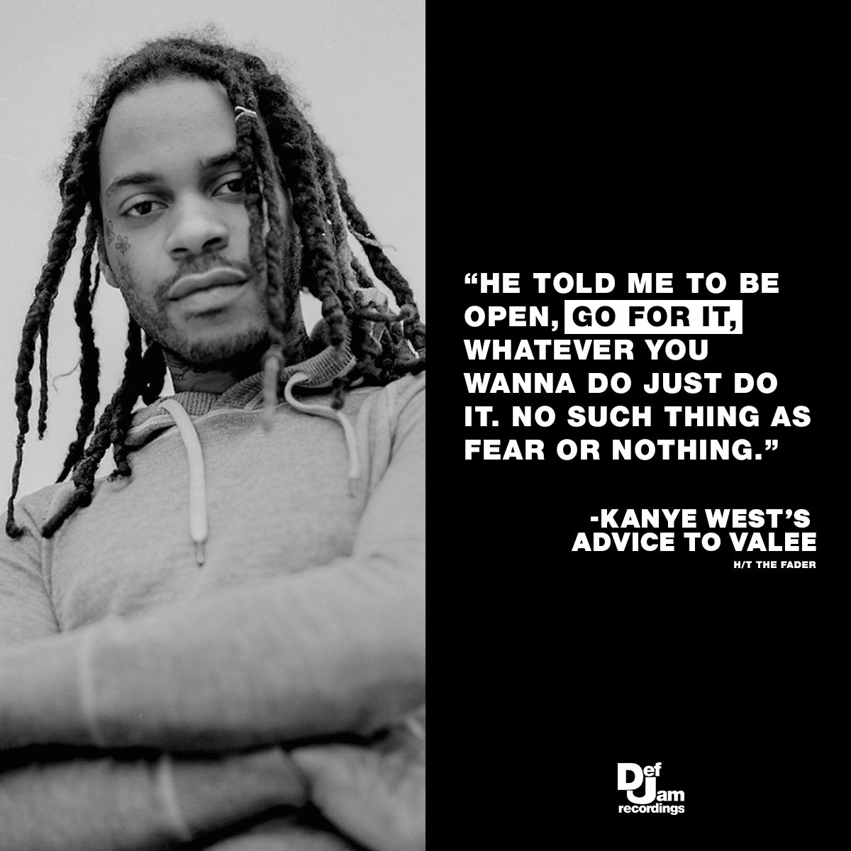 .@valee got advice from the greatest 🙌 (via @thefader)
