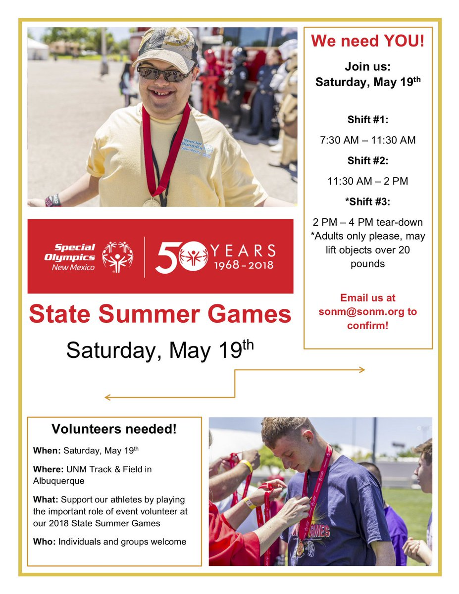 Volunteers needed! Our Summer Games in #Albuquerque are just around the corner (in May)! Check out our Volunteer Flyer and email us at sonm@sonm.org for more info! #ChooseToInclude <br>http://pic.twitter.com/gPQgVj1e6I
