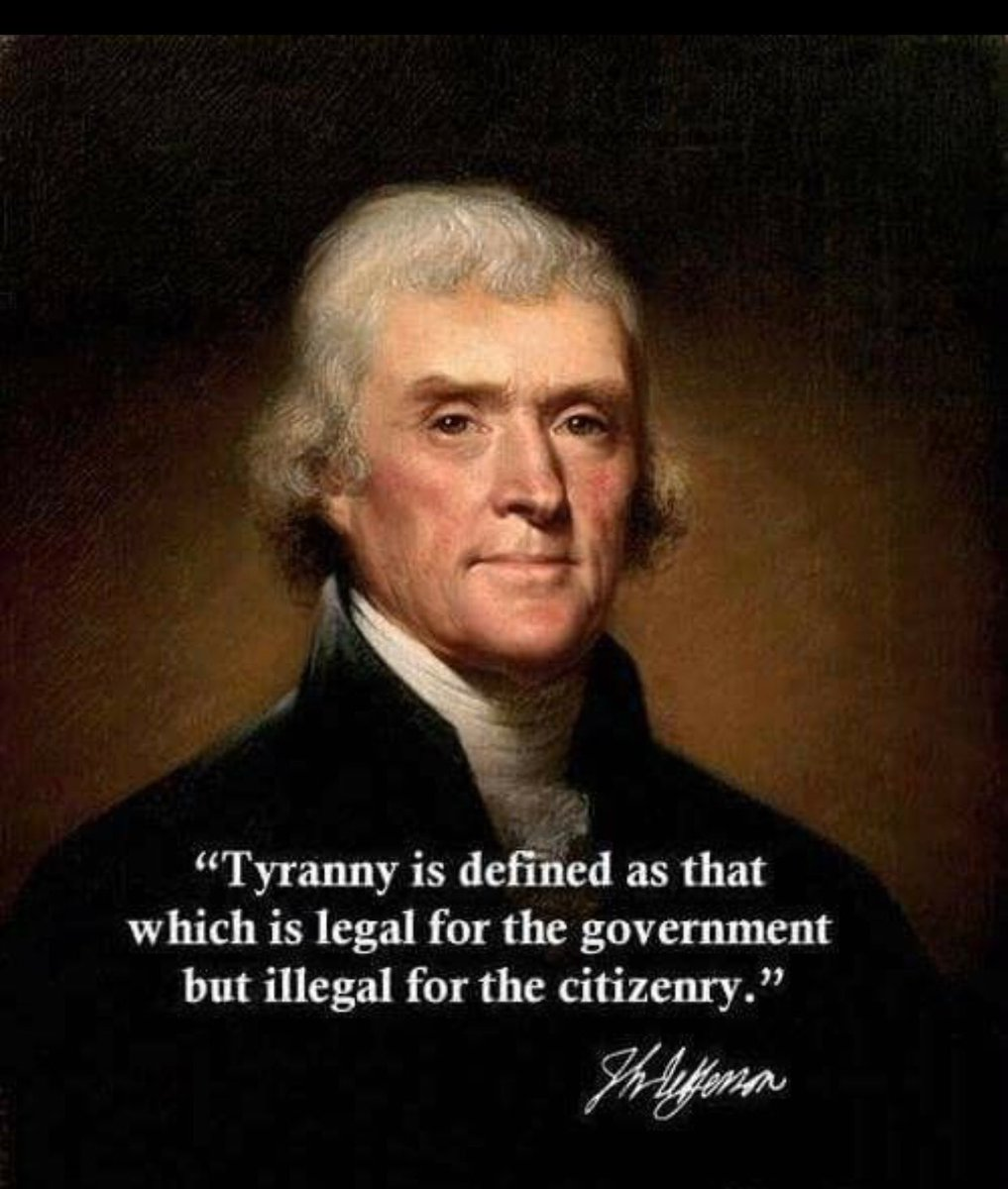 """""""Tyranny is defined as that which is legal for the government but illegal for the citizenry.""""  - Thomas Jefferson   #SeanHannity #FBIScandal  #Mueller #WitchHunt  @seanhannity  @realDonaldTrump<br>http://pic.twitter.com/Tgx9Ow1UNY"""
