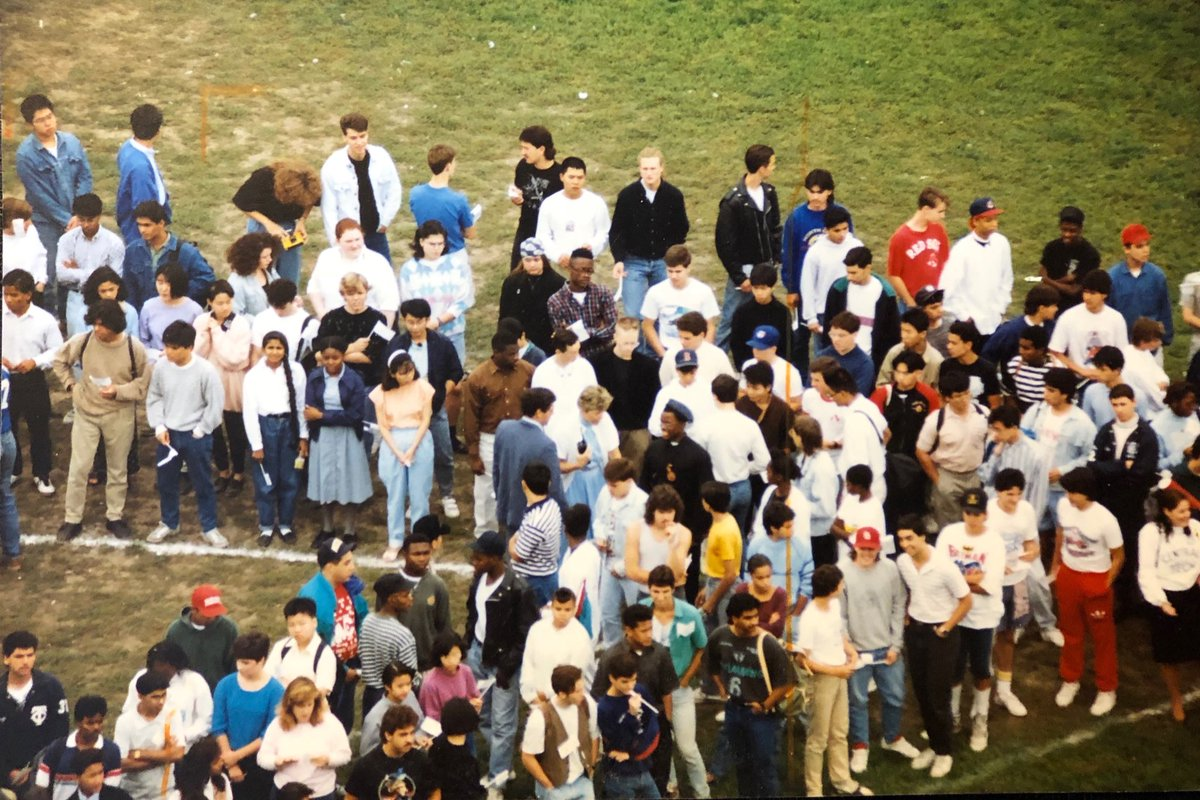 Does anyone recognize themselves in this picture? #centraltech #centraltechnical   Late 80s early 90s taken for 75th anniversary of school, we're forming 7.