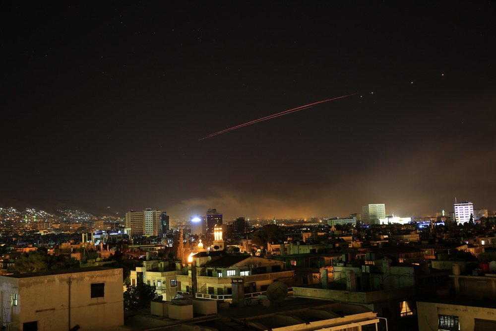 Syrian air defenses intercepted missiles fired at an airbase in the central province of Homs after midnight Tuesday, local media reported. Source of the missiles is not yet known. (file pic)