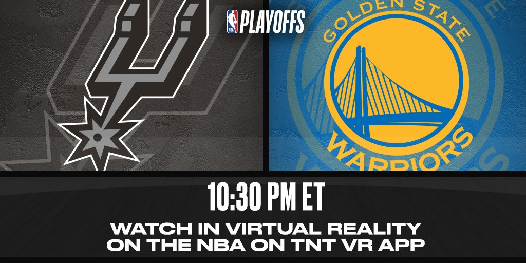 WATCH tonight's @spurs/@Warriors action LIVE with the @NBAonTNT VR app! https://t.co/wjeUxku2SE https://t.co/nnwpfcqg0O