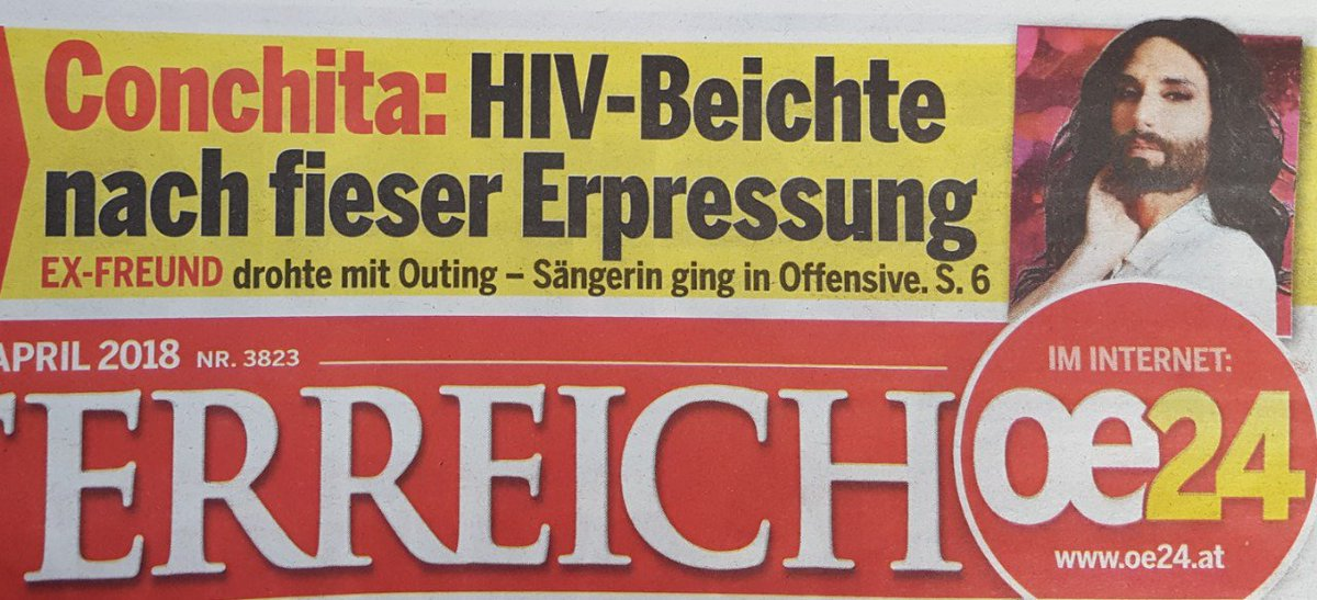 Good morning to #theunstoppables! We would have wished for other headlines about #ConchitaWurst. The only good thing is, it will lead to more awareness about and understanding of #HIV and #AIDS.  Newspaper &quot;Österreich&quot; today<br>http://pic.twitter.com/kypbHlC0X9