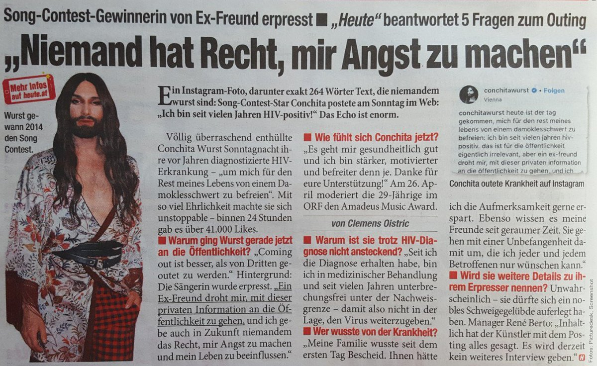 Another article about #ConchitaWurst being HIV positive this morning. Due to constant medical treatment the virus has not been detectable for years. Newspaper &quot;Heute&quot; <br>http://pic.twitter.com/VQldOVmYBq