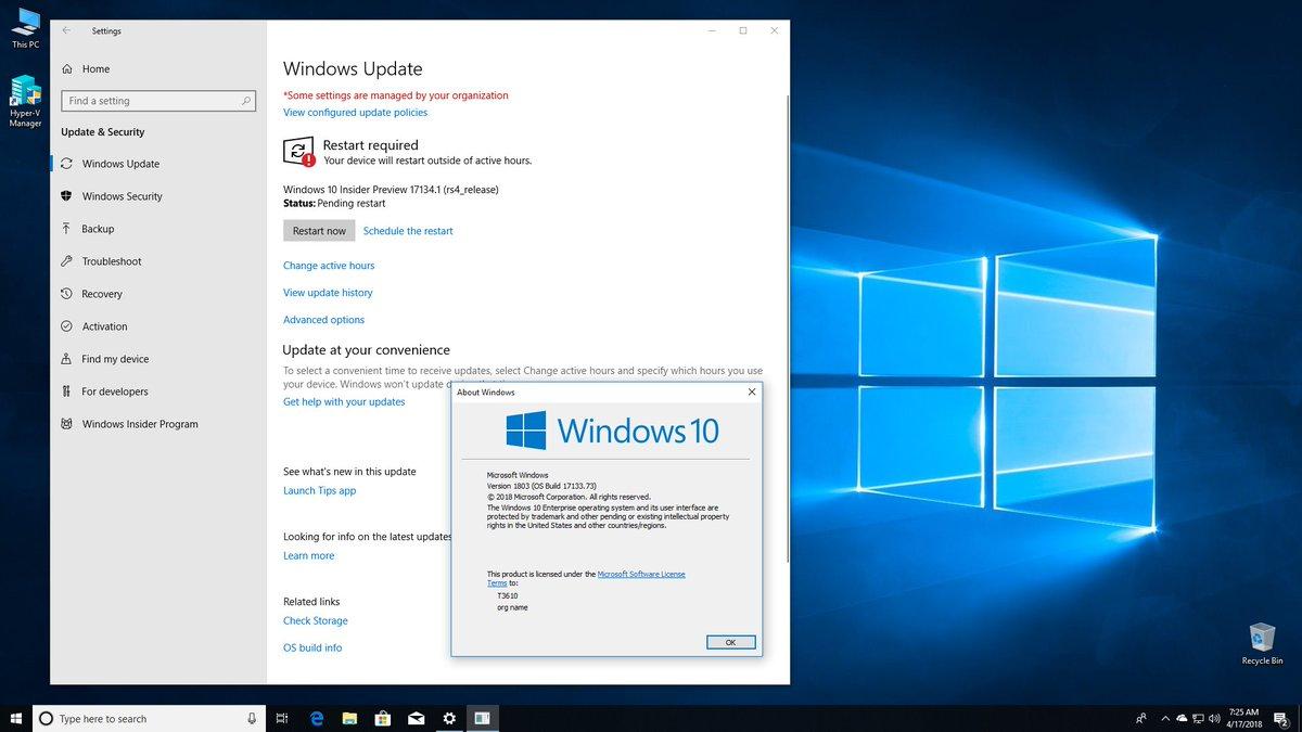 Windows 10 version 1803 ISO