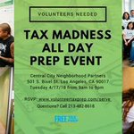 #KYCCLA is participating in the #FreeTaxPrepLA Tax Marathon Event TOMORROW, Tuesday, April 17th (the tax filing deadline) to assist last minute filers.  Where: City Central Neighborhood Partnership CCNP Address: 501 S. Bixel Ave Los Angeles, CA 90017 Whe… https://t.co/vXC9LjCh8O