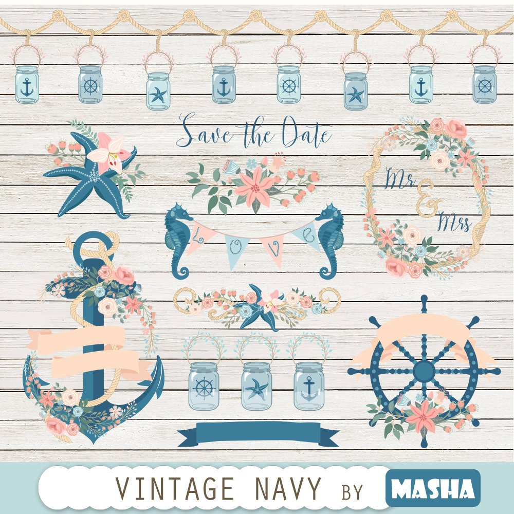 Navy ClipartVINTAGE NAVY CLIPART With Floral Anchor Clipart Wheel Jars Seahorse Starfish 31 Graphics 300 Dpi
