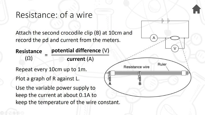 practical investigation resistance in wire Ohmmeter wire using a ruler, i measured and cut five different lengths of wire each length was connected to a ohmmeter and its resistance was measured.