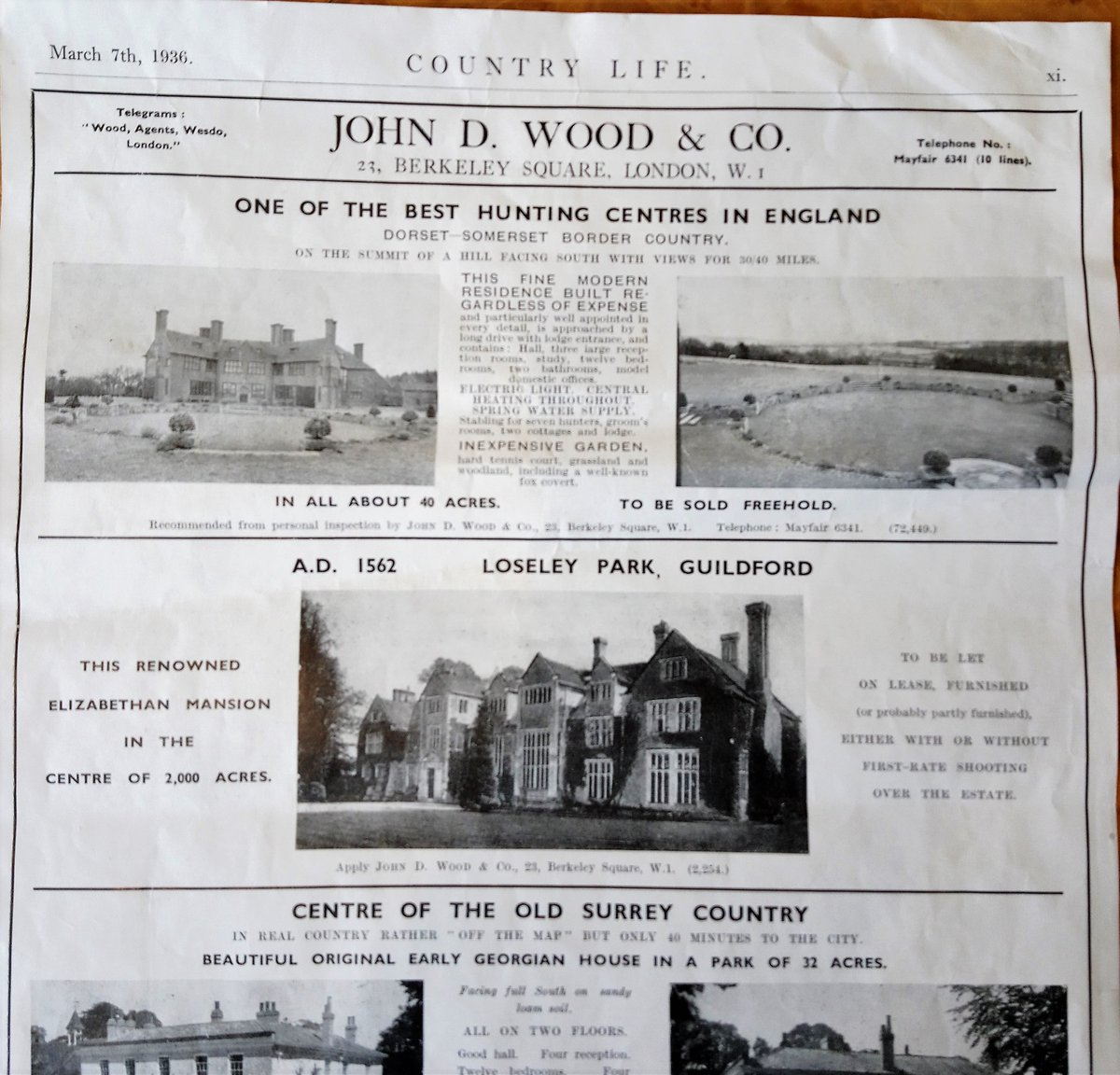 #TBT #ThrowbackThursdays For a very brief time the house had tenants. An American family who found that English country living wasn't to their taste & so didn't stay long! @johndwoodandco in Mayfair handled the let & advertised in 7 March 1936 edition of @Countrylifemag