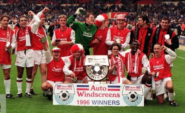 #Shrewsbury are playing in their 2nd #EFLTrophy final. The #Shrews lost their previous final 2-1 to #Rotherham at Wembley in 1996. Nigel Jemson scored twice for the #Millers before Mark Taylor scored for #Salop 9 mins from time. Paul Hurst was part of the #rufc side.