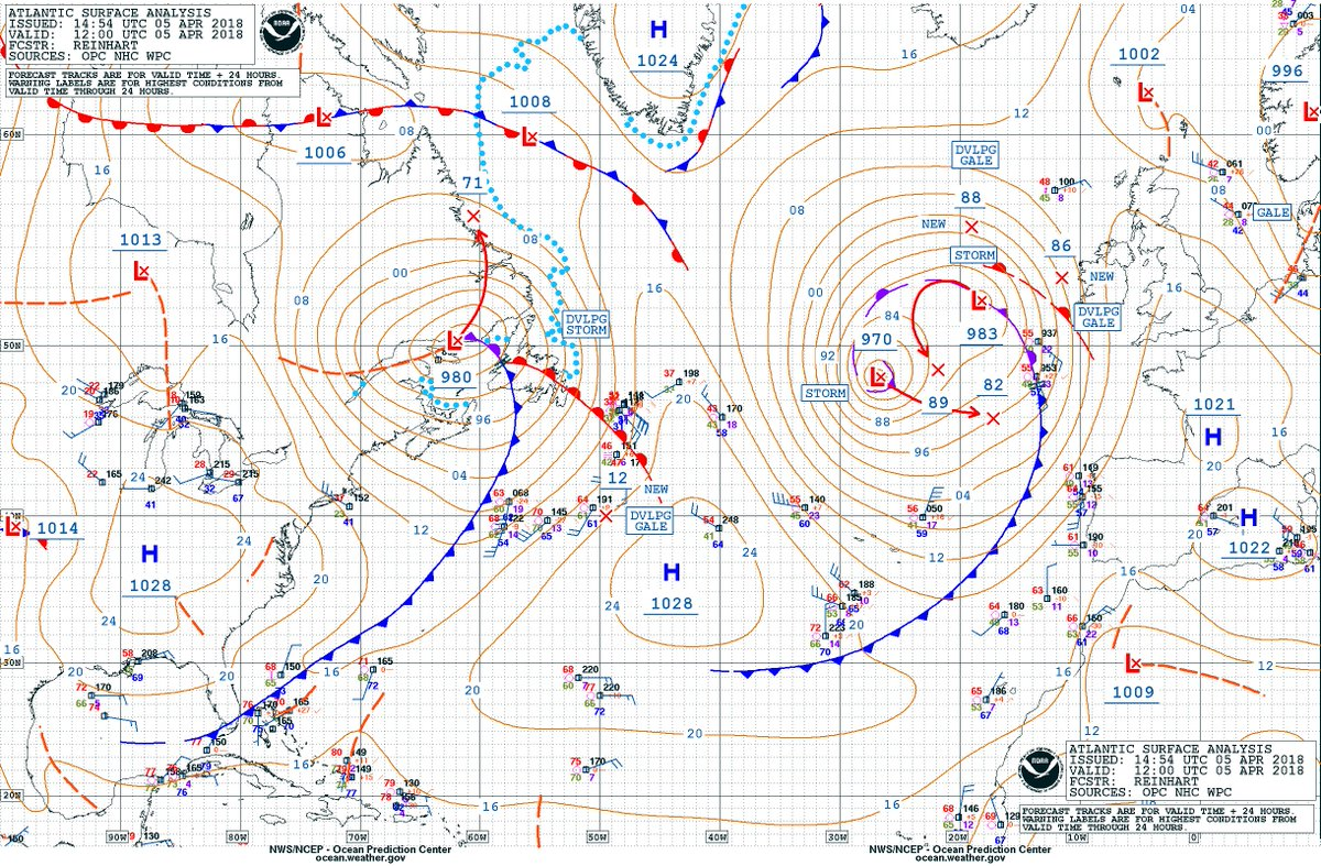 Nws opc on twitter here s a look at the opc 12z atlantic surface