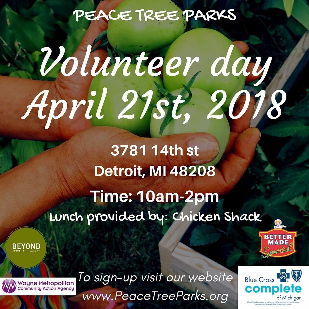 Detroit Food Policy Council On Twitter Peace Tree Parks Is Hosting A Volunteer Day For More Info And To Sign Up Https T Co Zluz5dgp5t
